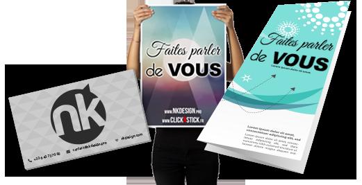 Faites parler de vous avec la publicité imprimée : cartes de visite, flyers, affiches, communication restaurant, publicité sur le lieu de vente PLV, etc...