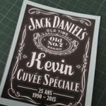 Personnalisation de sticker whisky Jack Dabiel's