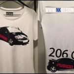 personnalisation tee shirt 206 tuning